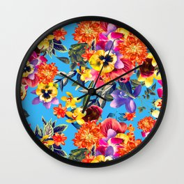 Floral Garden Pattern With Pansies, Lilacs and Mums Wall Clock