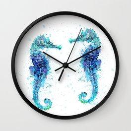 Blue Turquoise Watercolor Seahorse Wall Clock