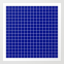 Phthalo blue - blue color -  White Lines Grid Pattern Art Print