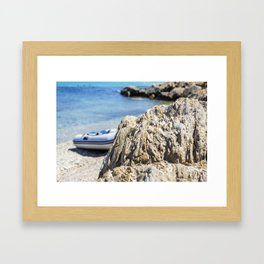 Seacoast in summer of the island of Porquerolles Framed Art Print