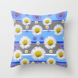 DECORATIVE BLUE MODERN ART WHITE SHASTA DAISIES Throw Pillow