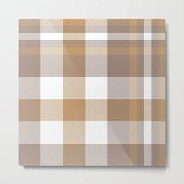 Brown Taupe Plaid Tartan Checkered Pattern Metal Print