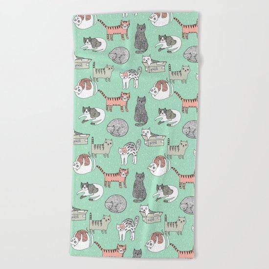 Cat pattern cute nursery cat lady kittens by andrea lauren Beach Towel
