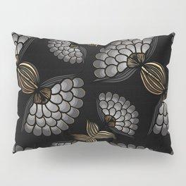 African Floral Motif on Black Pillow Sham