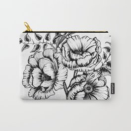 Flower bouquet in black and white, floral line drawing, pen and ink, anemone flowers, line art, flor Carry-All Pouch