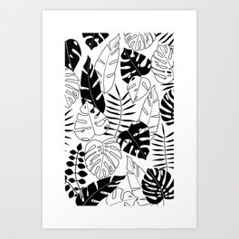 black and white tropical minimal leaves poster Art Print