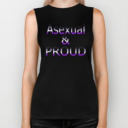 Asexual and Proud (black bg) Biker Tank