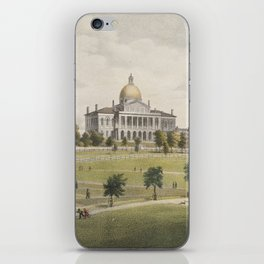 Vintage Illustration of The Boston Commons (1829) iPhone Skin