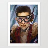 pilot Art Prints featuring Pilot by Shoko Lam