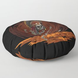 The dance of death, Cartoon hand drawn indian chief skeleton, Halloween scary illustration Floor Pillow