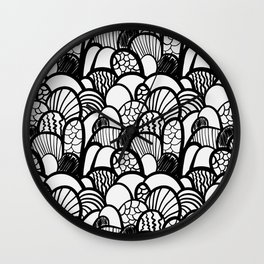 Coral Doodle Black and White Wall Clock