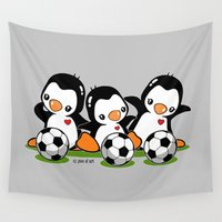 soccer Wall Tapestries featuring Soccer Penguins by joanfriends