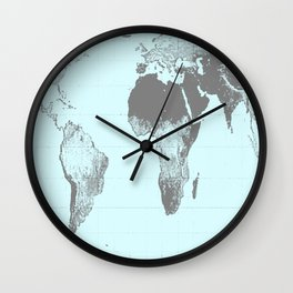 World Map : Gall Peters Aqua Wall Clock