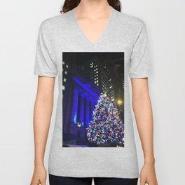 Wall Street Christmas, NYC Holiday Tree Lights Unisex V-Neck