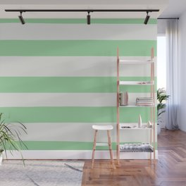Linen Off White & Pastel Melon Green Hand Drawn Fat Line Pattern - 2020 Color of the Year Neo Mint Wall Mural