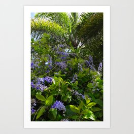 Tropical flowers and palm Art Print