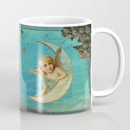 Vintage-Shabby-chic- Beautiful Christmas angel on aqua background Coffee Mug