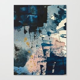Pleiades: a minimal, abstract mixed media piece by Alyssa Hamilton Art in Pink, Gold, and Blue Canvas Print