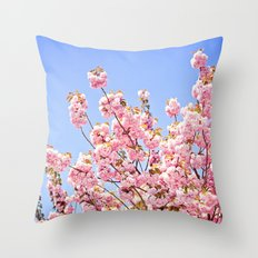Pink Cherry Blossoms Against Blue Sky Throw Pillow