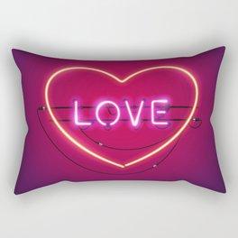 Pink Love in the Heart Neon Sign Rectangular Pillow