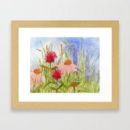 Garden Flowers on Sunny Day Framed Art Print