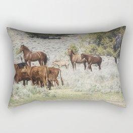 Meeting of the Herds Rectangular Pillow