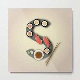 S is for Sushi. Metal Print