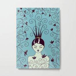 Strange Hair And Flowery Swirls Metal Print