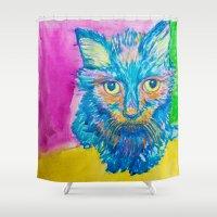 kitty Shower Curtains featuring KITTY by Nizhoni Creative Studio