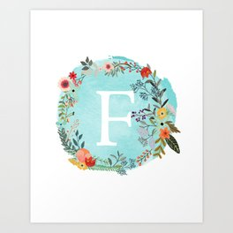 Personalized Monogram Initial Letter F Blue Watercolor Flower Wreath Artwork Art Print