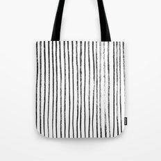 Black Dry Brush Line Pattern (Vertical) Tote Bag