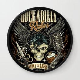 Rockabilly Rules Way of Life Wall Clock