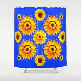 SKY BLUE MODERN SUNFLOWERS ART Shower Curtain