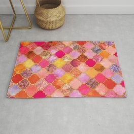 Hot Pink, Gold, Tangerine & Taupe Decorative Moroccan Tile Pattern Rug