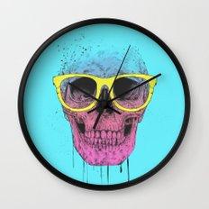 Pop art skull with glasses Wall Clock
