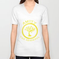 divergent V-neck T-shirts featuring Divergent - Amity The Peaceful by Lunil