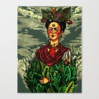 frida kahlo Canvas Prints featuring Frida Kahlo by Nicolae Negura