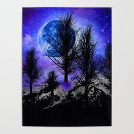 NEBULA STARS MOON BLACK TREES MOUNTAINS VIOLET BLUE Poster