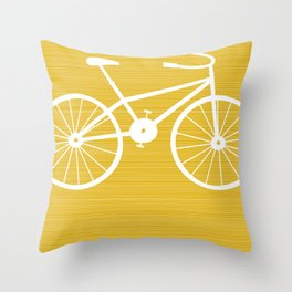 Yellow Bike by Friztin Throw Pillow