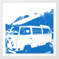 volkswagon Art Prints featuring Stellar Ride into the Blue by Dawn Marie
