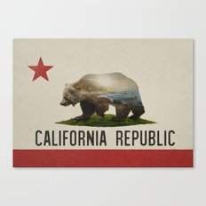 California Grizzly Bear Flag Canvas Print