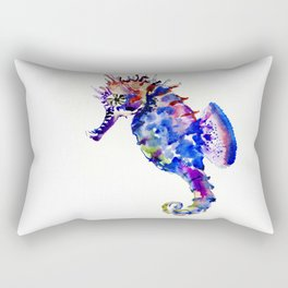 Blue Coral Seahorse Rectangular Pillow