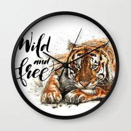 Tiger Wild and Free Wall Clock