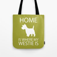 westie Tote Bags featuring Westie Dog Sihouette Art by pigknit