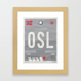Vintage Oslo Luggage Tag Poster Framed Art Print