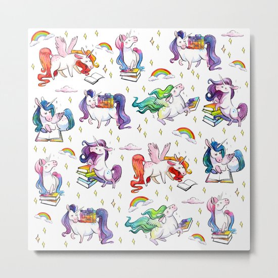 Reading Unicorn Pattern Metal Print