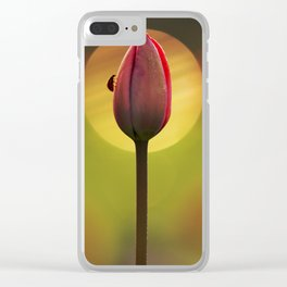 Tulip and ladybug Clear iPhone Case