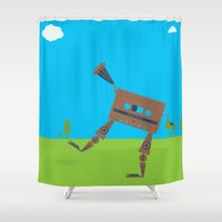 cassette Shower Curtains featuring cassette monster by Shupil