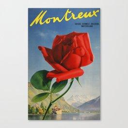 Vintage Travel Poster - Montreux, Suisse - Svizzera, Switzerland - Vintage Switzerland Travel Poster Canvas Print