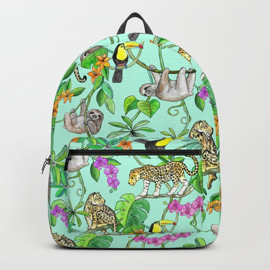 Rainforest Friends - watercolor animals on mint green Backpack